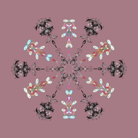Snowflake isolated on purple . Winter mandala. Snowflake Icon. Snowflake illustration.