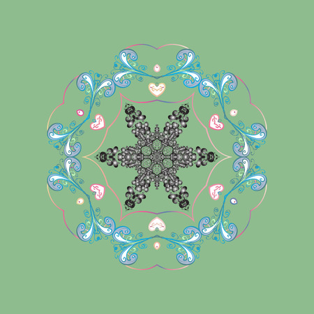 lay: Flat lay. Winter concept. Vector illustration. Winter pattern made of snowflake on colored background.