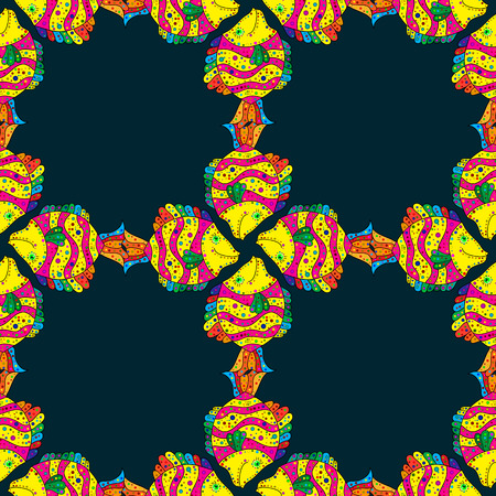 Pattern with fishes. Abstract illustration. Color image of repeating and alternating constituent elements. Decorative ornament.