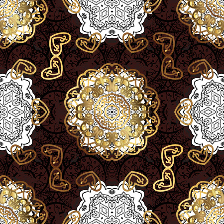 Damask pattern for design. Vector pattern on dark brown background with white elements.