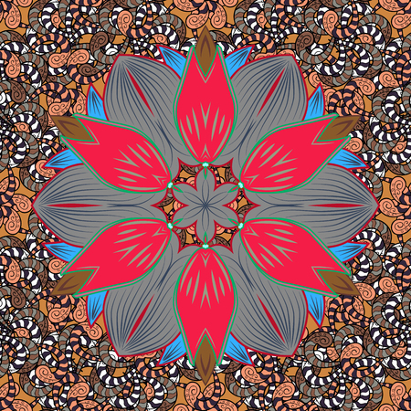 Flowers. Abstract ethnic vector seamless pattern. Flowers of the valley on colored background.