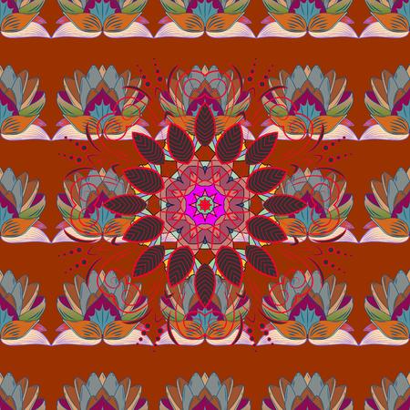 벡터 - 주식입니다. 화려한 배경에 cornflowers와 나뭇잎과 카모마일 꽃. 완벽 한 배경 무늬입니다.