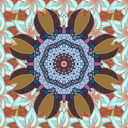 oriental bathrobe: Orient, symmetry lace, meditation symbol. East, ottoman motifs. Arabic Vintage decorative ornament. Abstract Tribal, ethnic texture. Vector Mandala colored on colorful background. Mandala pattern.