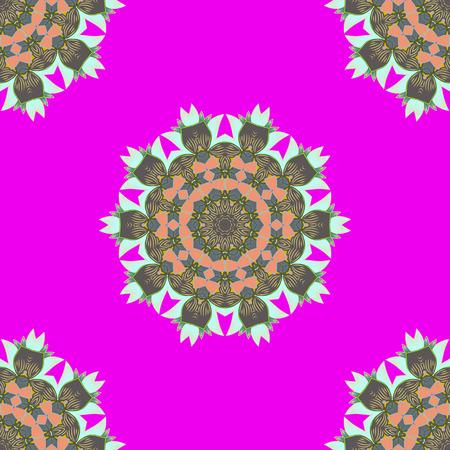 Decorative vector ornate colored mandala icon isolated for card, colored Mandala on a pink background. For invitation card, scrapbook, banner, postcard, tattoo, yoga, boho, magic, carpet, tile or lace Illustration