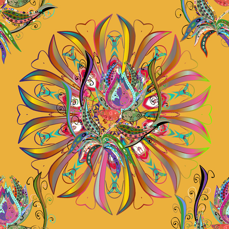 mantra: Traditional indian style, ornamental floral elements for henna tattoo, colored stickers, flash temporary tattoo, mehndi and yoga design, cards and prints. Vector sketch of colored mehndi mandala on.