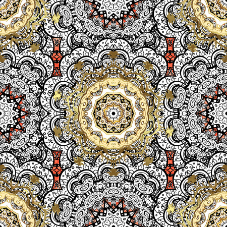 Floral ornament brocade textile pattern, glass, metal with floral pattern on red background with white elements. Classic vector white pattern.