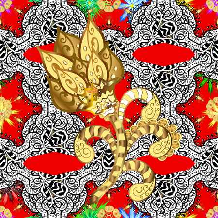 intertwined: Classic vector pattern. Pattern on red background with white elements. Traditional orient ornament. Classic vintage background. Illustration