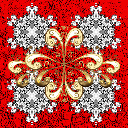 drapes: White pattern. Vector white floral ornament brocade textile pattern. Floral pattern. Red background with elements.