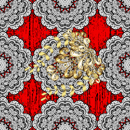 ?attern on red background with white elements. Vector. White texture curls. Oriental style arabesques. Brilliant lace, stylized flowers, paisley. Openwork delicate pattern. Illustration