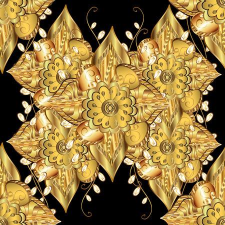 세련 된 그래픽 패턴입니다. 바로크, 다마 스케치. 원활한 벡터 배경입니다. 플로랄 패턴입니다. 검은 색 바탕에 황금 요소입니다.