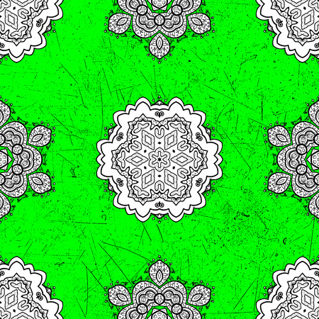 White textured curls. Vector pattern. ?attern on green roughness background with white elements. Oriental style arabesques.