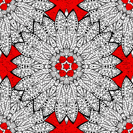 Damask pattern for design. Vector pattern on red background with white elements. Illustration