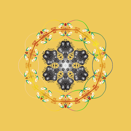 Snowflake winter. Vector illustration. Isolated watercolor snowflakes on colorful background. Symbol of winter.