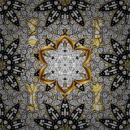 Traditional vector and golden pattern. Classic oriental pattern over background. Damask seamless ornament.