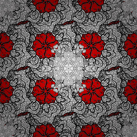 Brilliant lace, stylized flowers, paisley. ?attern on red background with white elements. Oriental style arabesques. Openwork delicate pattern. Vector. White texture curls.
