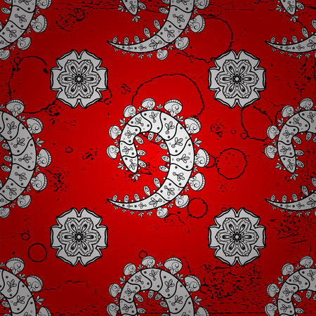 Pattern medieval floral royal pattern. Decorative symmetry arabesque. Vector illustration. White on red background. Good for greeting card for birthday, invitation or banner.