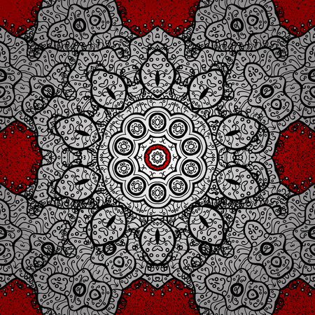 Vector oriental ornament. Oriental ornament in the style of baroque. Traditional classic white pattern. Pattern on red background with white elements. Illustration