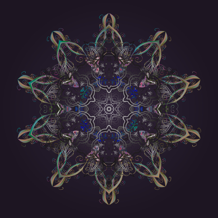 Vector illustration. Flat design. Colorful snowflake Vector illustration. Icons, labels. Vector winter snowflakes on colorful background. Snowflake icon, isolated. Illustration