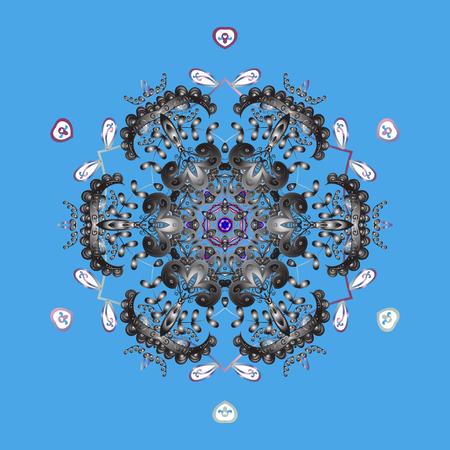 Christmas stylized snowflakes on a blue background. Illustration