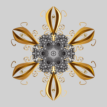 Vector illustration. Vector winter pattern. Abstract background with Floral Elements. Design on gray background.