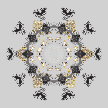 leaden: Abstract background with Floral Elements. Vector winter pattern. Design on gray background. Vector illustration.