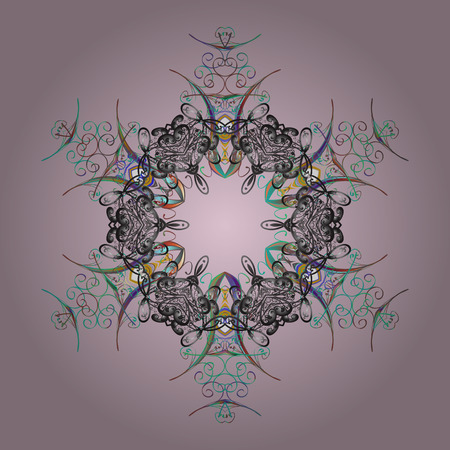 Vector illustration. Hand drawn antistress snowflake. Winter coloring pages for adult art therapy. Template for cover, poster, t-shirt or tattoo.