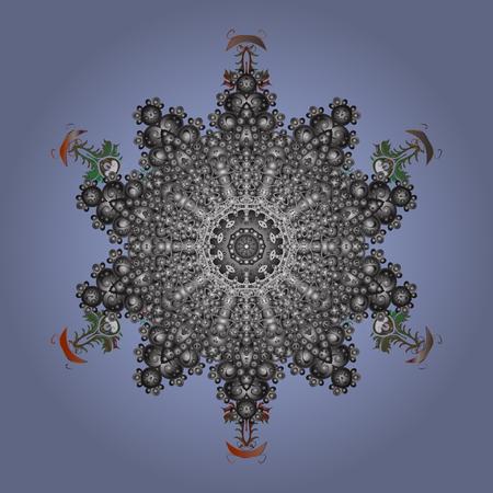 contoured: Snowflake Vector illustration. Winter gray mandala. Snowflake isolated on dark round radial lilac background. Snowflake Icon. Illustration
