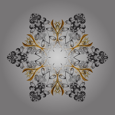 Beautiful vector snowflakes isolated on a colorful background. Snowflakes, snowfall. Falling Christmas stylized snowflakes. Illustration.