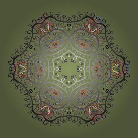 Snowflake ornament object. Mandala isolated. Snowflake ornament on a green background. Snowflake ornament Vector illustration.