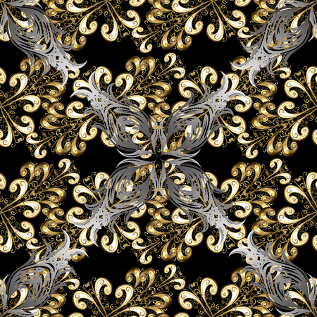 Golden pattern on black background with golden elements. Seamless damask classic gray and golden pattern. Vector abstract background with repeating elements.