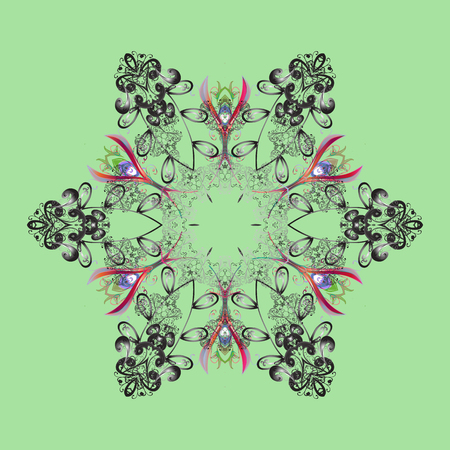 Flat design of snowflakes isolated on colorful background. Vector illustration. Snowflakes pattern. Snowflakes background. Snowflake ornamental pattern.