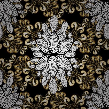 Winter snow texture sketch. Golden snowflakes on black background. Christmas gold snowflake seamless pattern.