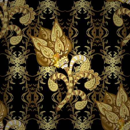 Vector illustration. Vintage seamless pattern on a black background with golden elements.