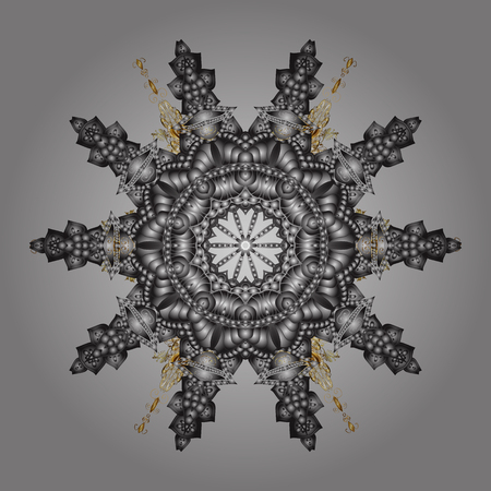 Isolated watercolor snowflakes on gray background. Beautiful decoration. Vector illustration with isolated snowflake. Symbol of winter. Illustration