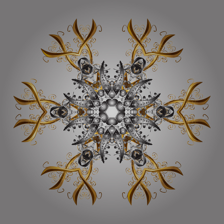 repeated: Isolated nice snowflakes on colorful background. Vector illustration. Repeated texture for surface, wrapping paper, on gray background. Winter snowflake, vector background.