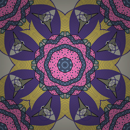 배경. 벡터 만다라입니다. 인쇄 된 패브릭 또는 papper 등에 가장 적합한 기와 만다라 디자인. Boho 스타일 꽃 원활한 패턴입니다. 일러스트