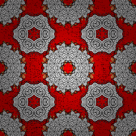 Classic vector white pattern. Pattern on red background with white elements. Traditional orient ornament. Classic vintage background.