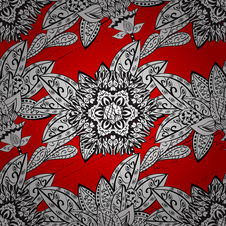 Traditional orient ornament. Pattern on red background with white elements. Classic vintage background. Illustration
