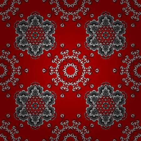 Christmas, snowflake, new year. White seamless pattern on red background with white elements. Illustration