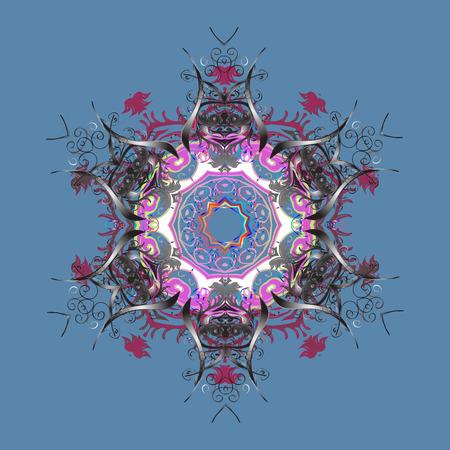 christmas backdrop: Snowflake ornament Vector illustration. Snowflake ornament on a blue background. Gray and pink mandala isolated. Snowflake ornament object.