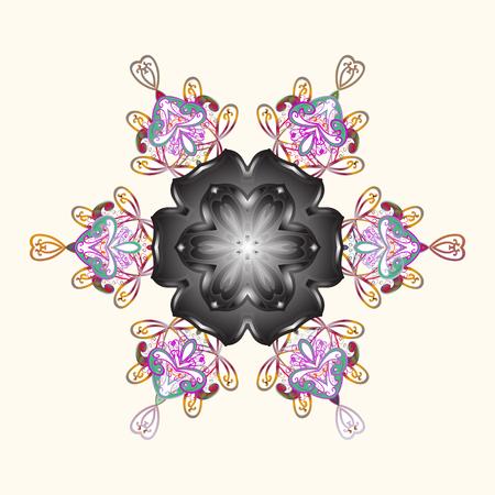 christmas gift: Ethnic of Lace Snowflakes. Folk Style. Decorative Texture Background of Mandalas.