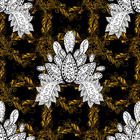 Traditional classic golden vector pattern on black background with golden elements. Seamless oriental ornament in the style of baroque.