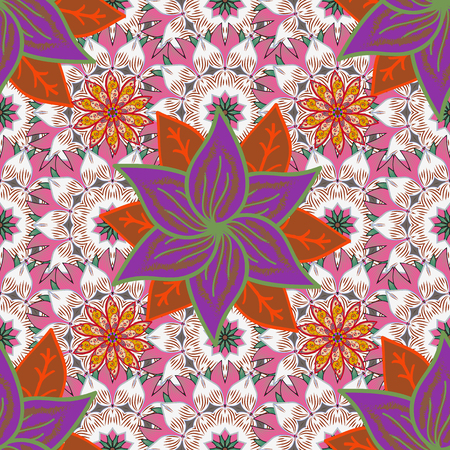 Cute flowers pattern with background. Colour Spring Theme seamless pattern Background. Flat Flower Elements Design. Vector Fashionable fabric pattern. Illustration
