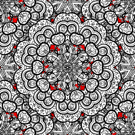 christmas backdrop: Pattern oriental ornament. White pattern on red background with white elements. Floral tiles. Islamic design. Vector white textile print. Illustration