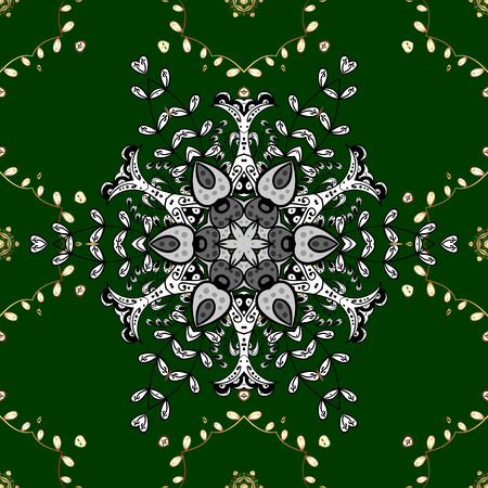 Seamless pattern on green background with golden elements and with white doodles. Seamless Golden pattern. Vector oriental ornament.