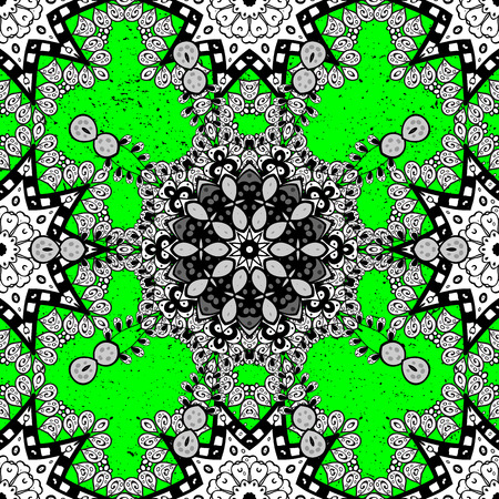 ?attern on green background with white elements. Brilliant lace, stylized flowers, paisley. White texture curls. Oriental style arabesques. Openwork delicate pattern. Vector. Illustration