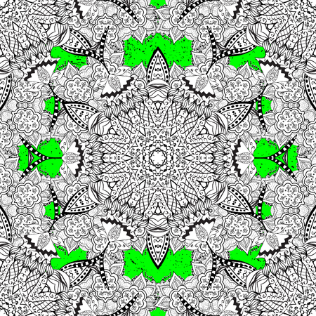 Classic vector white pattern. Floral ornament brocade textile pattern, glass, metal with floral pattern on green background with white elements. Illustration