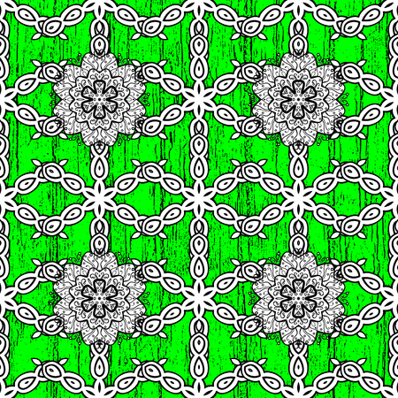 White textured curls. Oriental style arabesques. Colored pattern on green background with white elements.