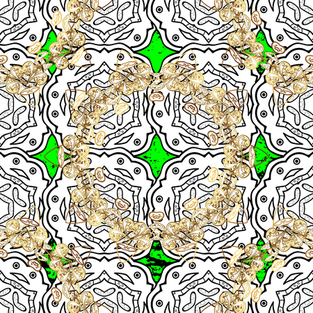 Vector pattern. Oriental style arabesques. ?attern on green roughness background with white elements. White textured curls.