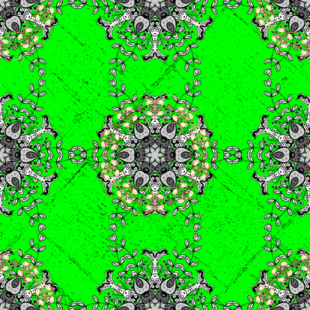 Vintage pattern on a green background with white elements. Vector illustration.